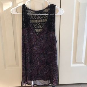 Patterned and lace tank top